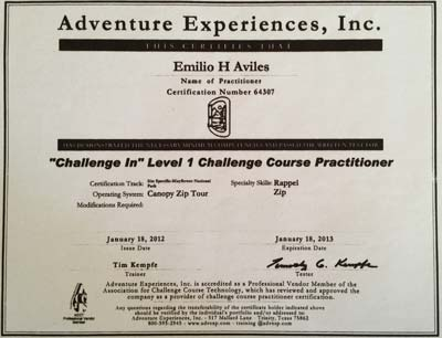 Rappelling and Zip Course - Certificate